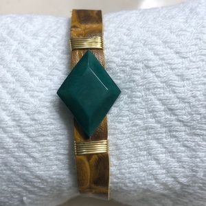 Noonday bracelet - green stone, gold detail